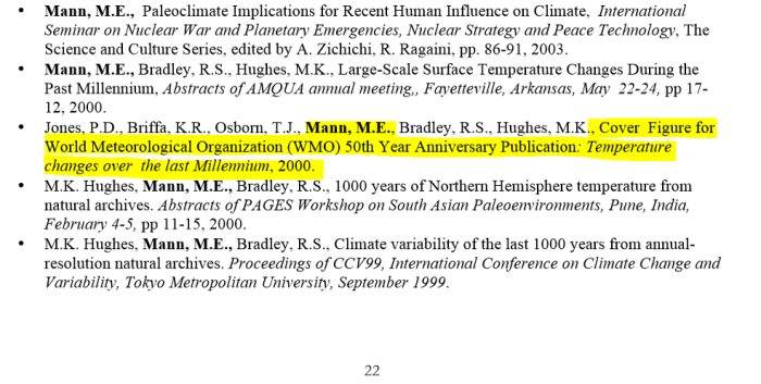 mann cv excerpt showing wmo 1999