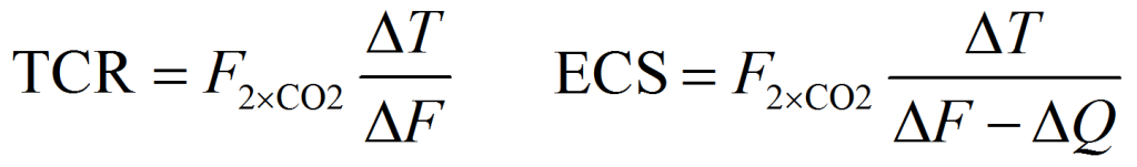 TCR & ECS energy budget equations
